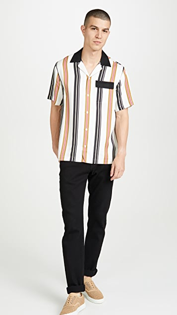 Saturdays NYC Xavier Stripe Short Sleeve Shirt