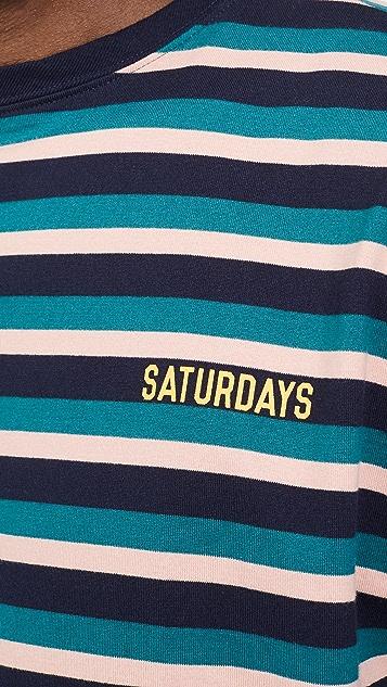 Saturdays NYC Skelton Short Sleeve Striped Tee