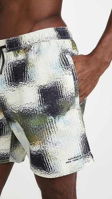 Saturdays NYC Timothy Glass Print Swim Shorts