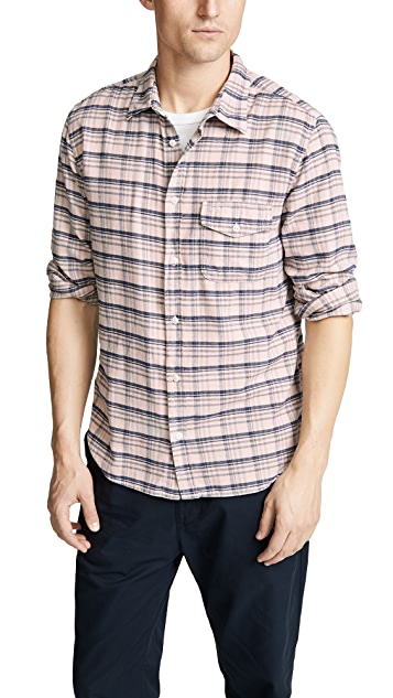 Save Khaki Plaid Flannel Work Shirt