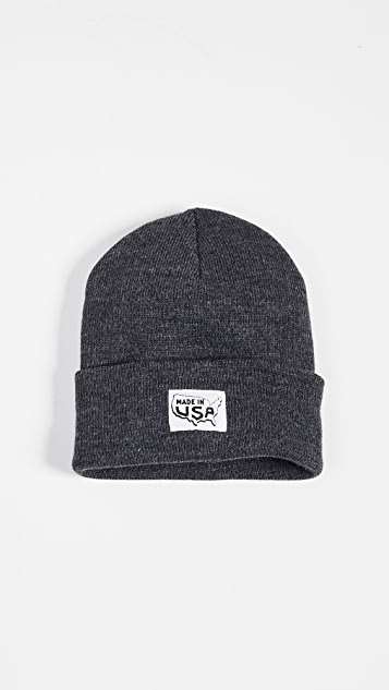 Save Khaki Printed Made In Cuff Beanie Hat