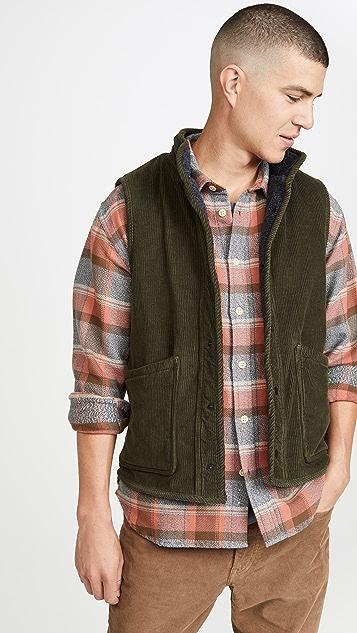 Save Khaki Sherpa Lined Corduroy Vest