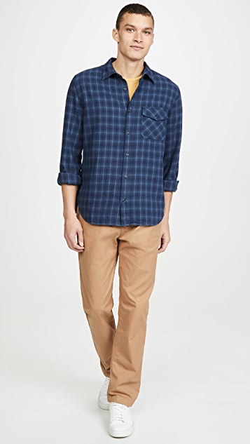 Save Khaki Long Sleeve Plaid Flannel Work Shirt