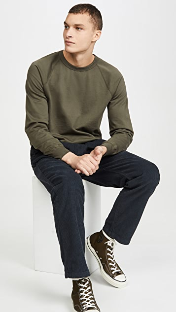 Save Khaki Long Sleeve Suprima Fleece Crew Neck Sweatshirt