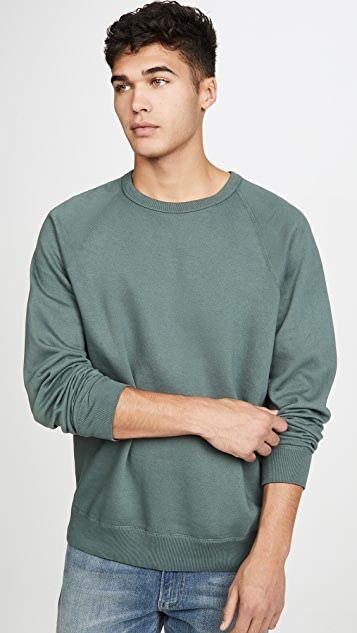 Save Khaki Long Sleeve Heather Fleece Crew Neck Sweatshirt