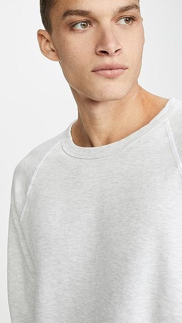 Save Khaki Long Sleeve Heather Fleece Crew Neck Sweatshirt