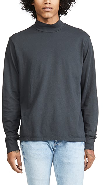 Save Khaki Organic Cotton Mock Neck Long Sleeve Tee