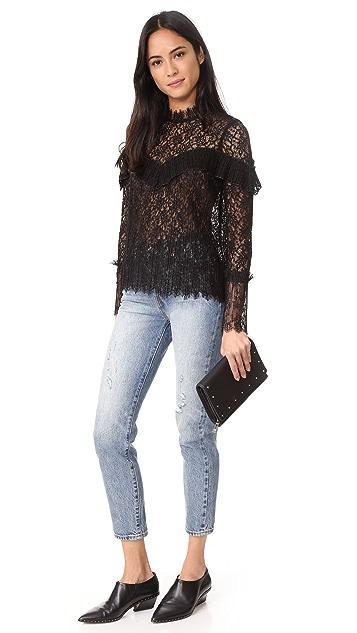 Saylor Mariella Pleated Lace Top
