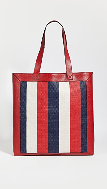 Shopbop Archive Gucci Logo Print Canvas & Leather Tote