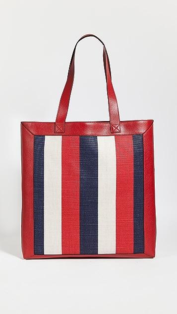 Shopbop Archive Gucci 徽标印花帆布 & 皮托特包