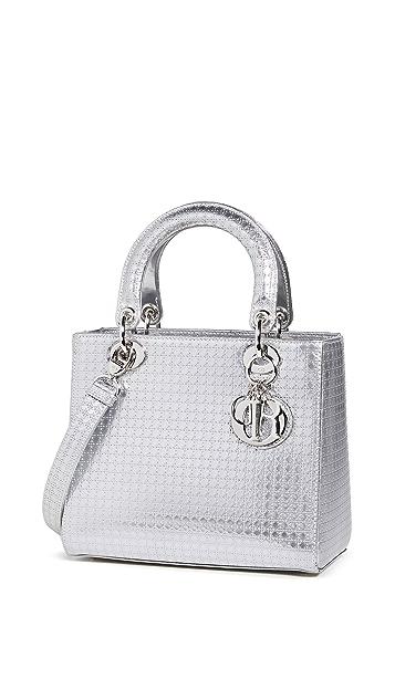 Shopbop Archive Lady Dior Cannage Silver 2way Handbag