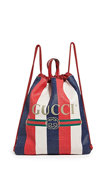 Shopbop Archive Gucci Logo Drawstring Backpack Canvas