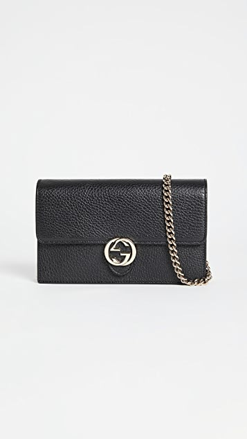 Shopbop Archive Gucci Dollar 小牛皮联锁 G 链条钱包