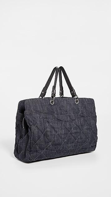 Shopbop Archive Chanel 徽标绗缝牛仔布帆布包