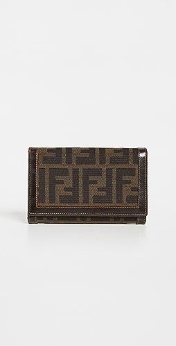 Shopbop Archive - Fendi Bi-fold Compact Leather Trim Wallet