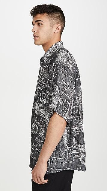 Schnayderman's Oversized Zodiac Print Short Sleeve Shirt