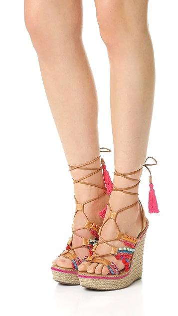 Schutz Mella Wrap Wedge Sandals