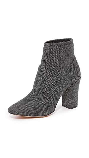 Schutz Ditte Stretch Ankle Booties - Black/Silver