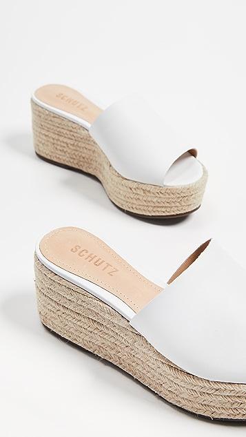 Schutz Thalia 厚底编织底坡跟绑带凉鞋