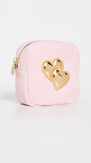 Stoney Clover Lane Mini Corduroy Pouch with Puffy Heart