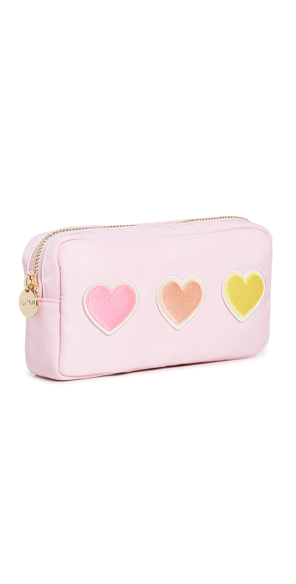 Stoney Clover Lane Flamingo Small Pouch with Embroidered Heart Patches