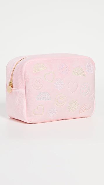 Stoney Clover Lane Strawberry Embroidered Mixed Icons Large Pouch