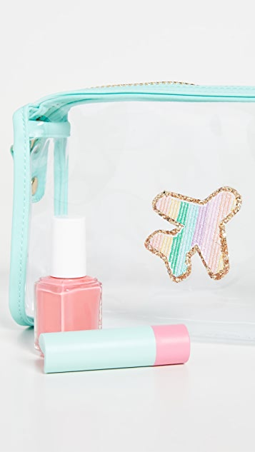 Stoney Clover Lane Travel Pouch with Rainbow Airplane Patch