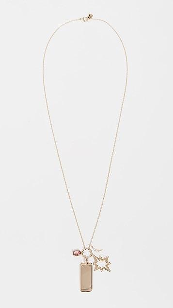 Scosha 14k Hollow Diamond Starburst and Tag Charms Necklace