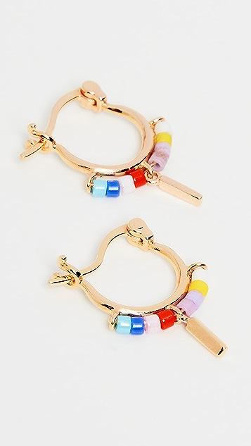Scosha Multicolor Beaded Trinket Hoop Earrings