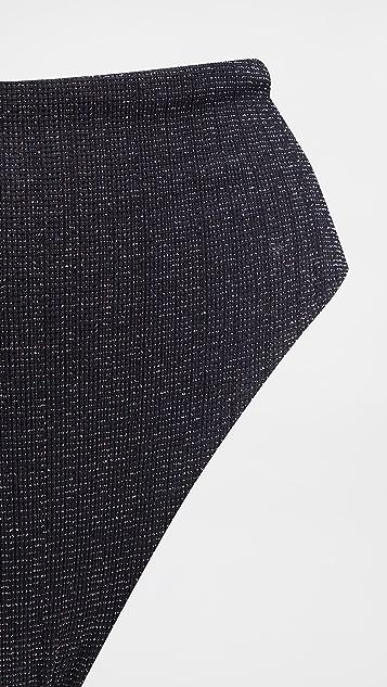 Sara Cristina 90 年代复古风格黑色金属质感短款裤装