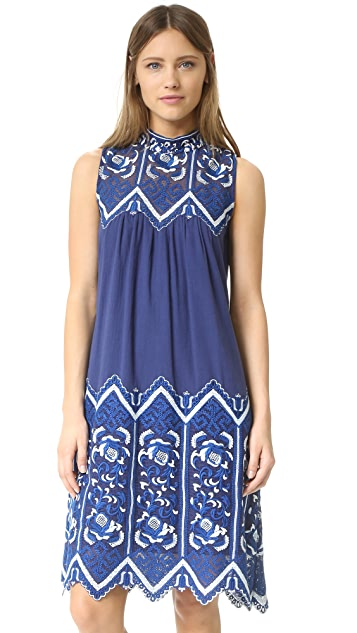 Sea Embroidered Sleeveless Dress