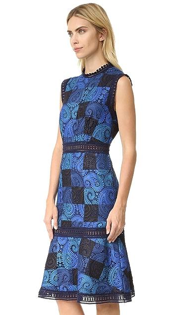 Sea Print Lace Sheath Dress