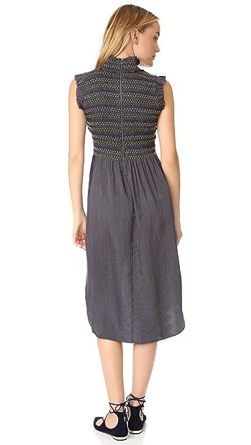 Sea Smocked Sleeveless Dress