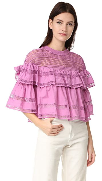 Sea Baja Lace Ruffled Top