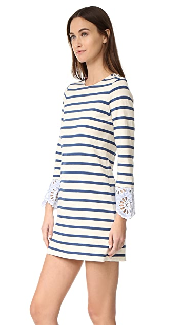 Sea Stripe and Eyelet Dress
