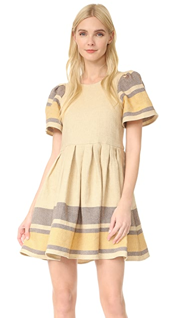 Sea Border Stripe Puff Sleeve Dress