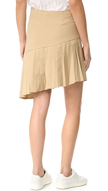 Sea Asymmetrical Pleated Skirt