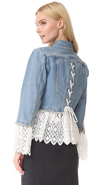 Sea Eyelet Layered Denim Jacket