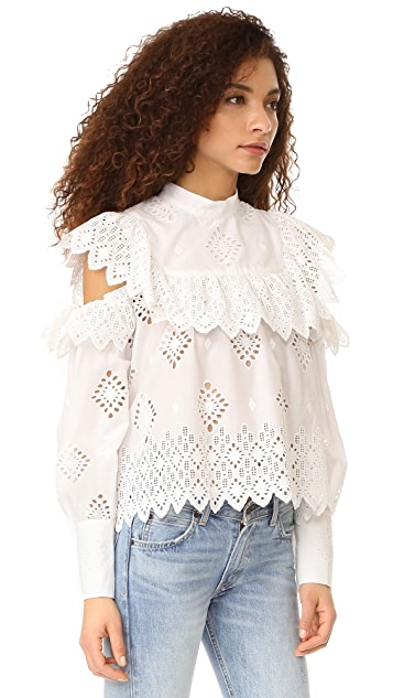 Sea Open Shoulder Ruffle Blouse