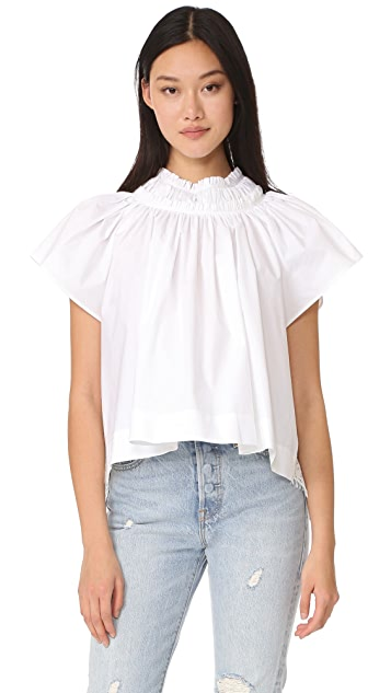 Sea Lace Back Pleated Top