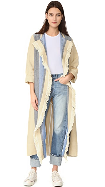 Sea Border Stripe Fringe Coat