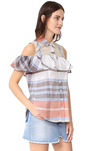 Sea Cold Shoulder Ruffle Shirt