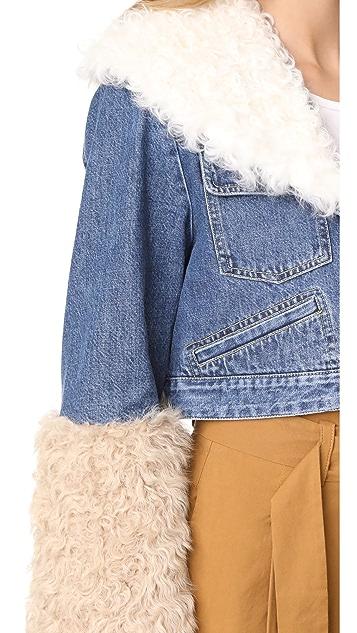 Sea Dunaway Denim Fur Jacket