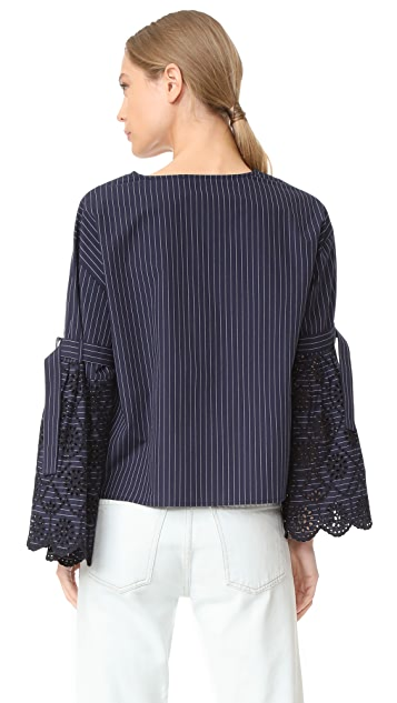 Sea Belted Bell Sleeve Top