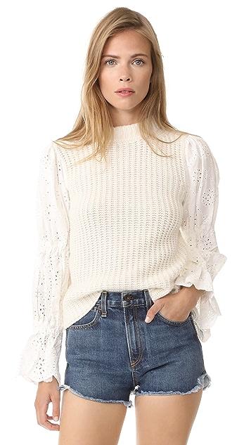 Sea Eyelet Sleeve Combo Sweater
