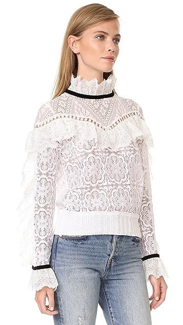 Sea Lace Ruffle Sweatshirt