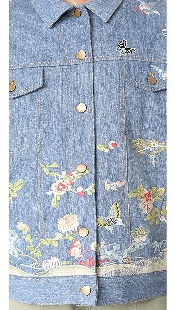 Sea Embroidered Denim Jacket