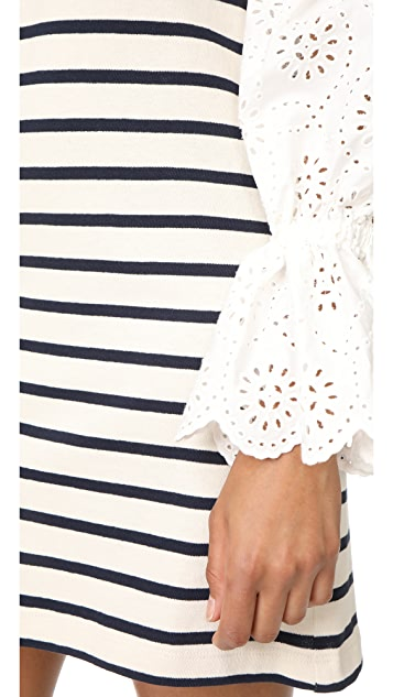 Sea Eyelet Sleeve Dress