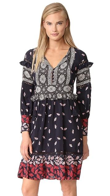 Sea Ruffle Sleeve Belted Dress