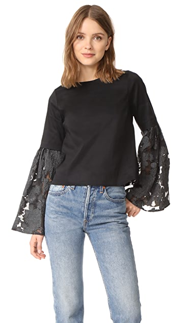 Sea Lace Back Bell Sleeve Blouse